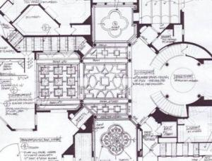 1st-floor Original ceiling designs for Cirque Terre Show House by Susan P. Berry