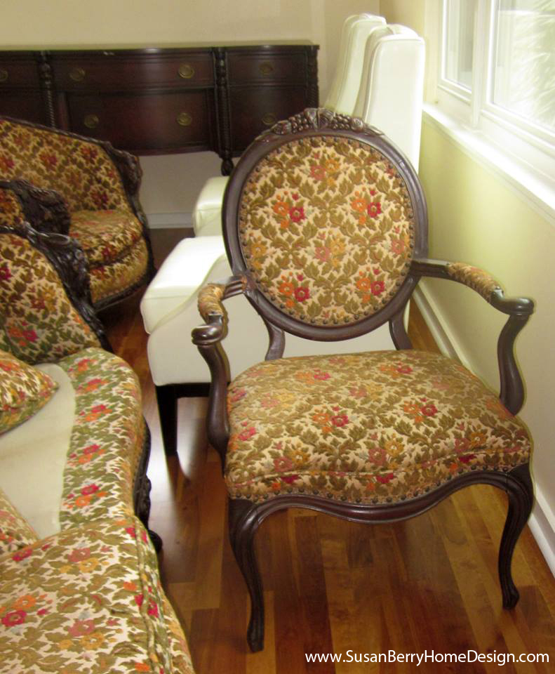 BEFORE: Victorian chair, Craftsman Cottage decorating by Susan Berry