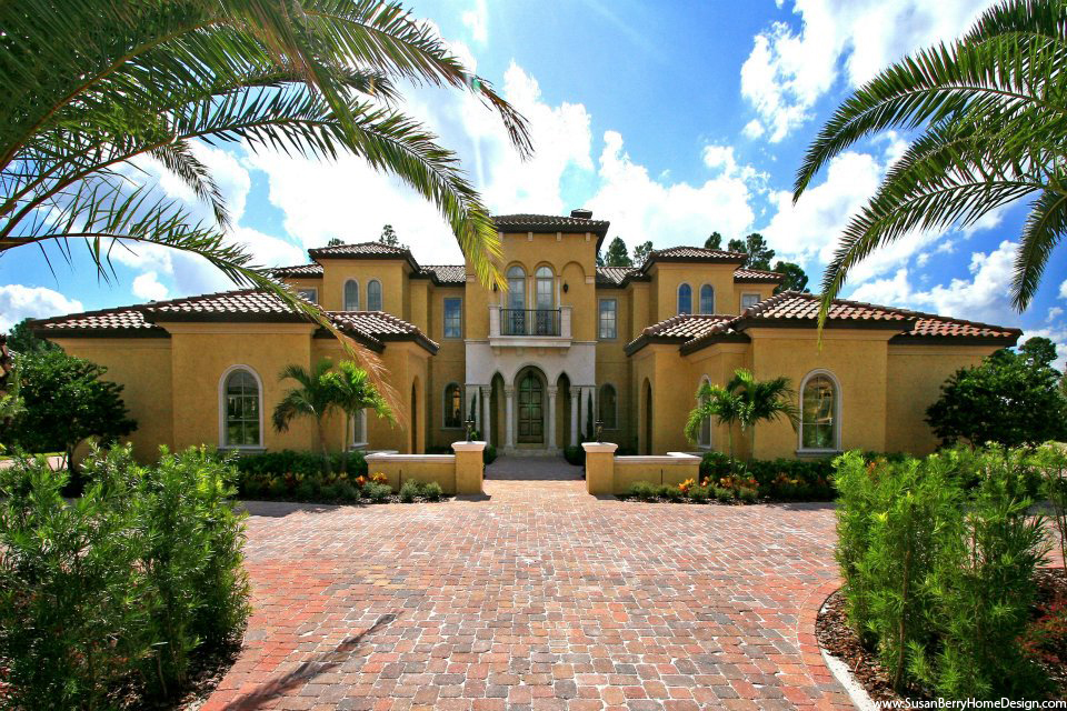 Mediterranean Front Elevation : Mediterranean mansion designer susan berry home design
