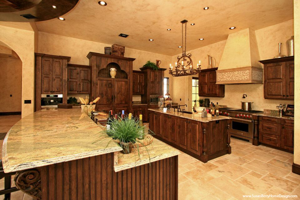 Mediterranean Mansion, Kitchen, Susan Berry Home Building Designer