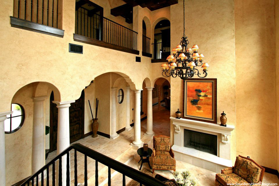 Mediterranean Mansion, Living Room, Susan Berry Home Building Designer
