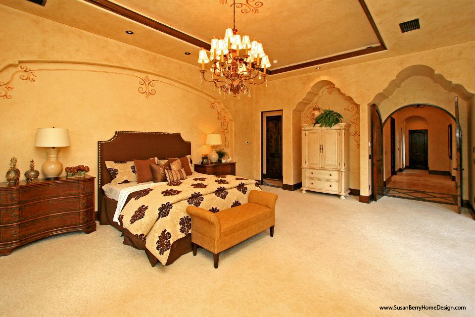 Mediterranean Mansion, Master Bedroom, Susan Berry Home Building Designer