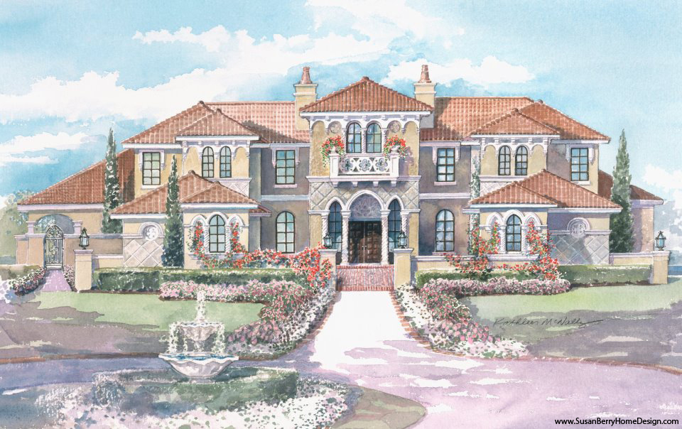 Mediterranean Mansion Rendering, Home design by Susan P. Berry of Classical Home Design, Inc.